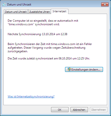 Internetzeit Windows 7